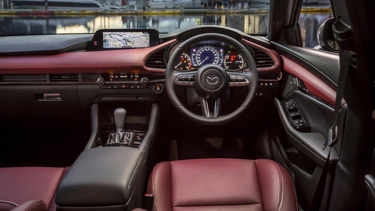 2019 Mazda 3 hatch burgundy leather interior