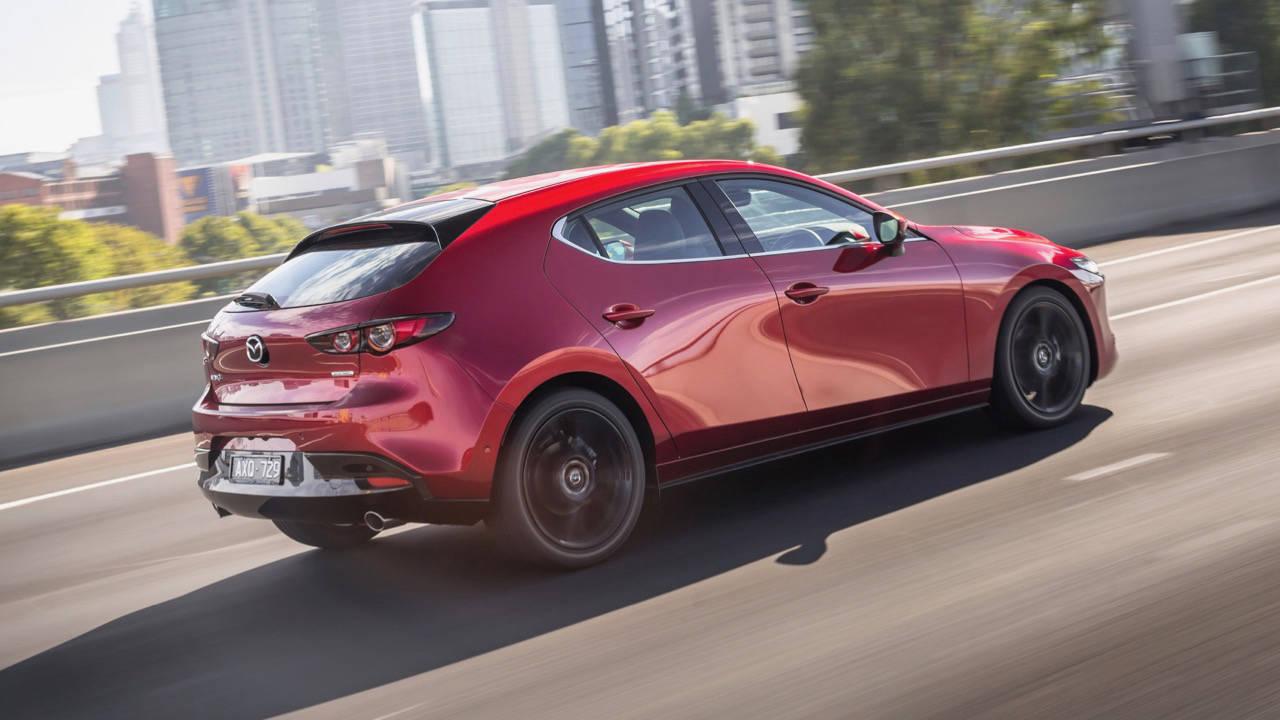 2019 Mazda 3 hatch soul red crystal rear