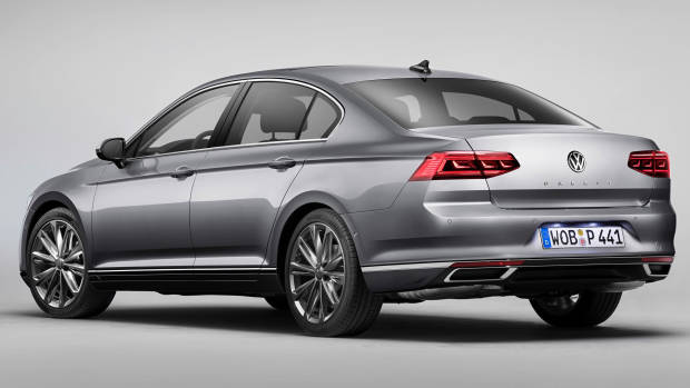 2020 Volkswagen Passat grey sedan rear 3/4