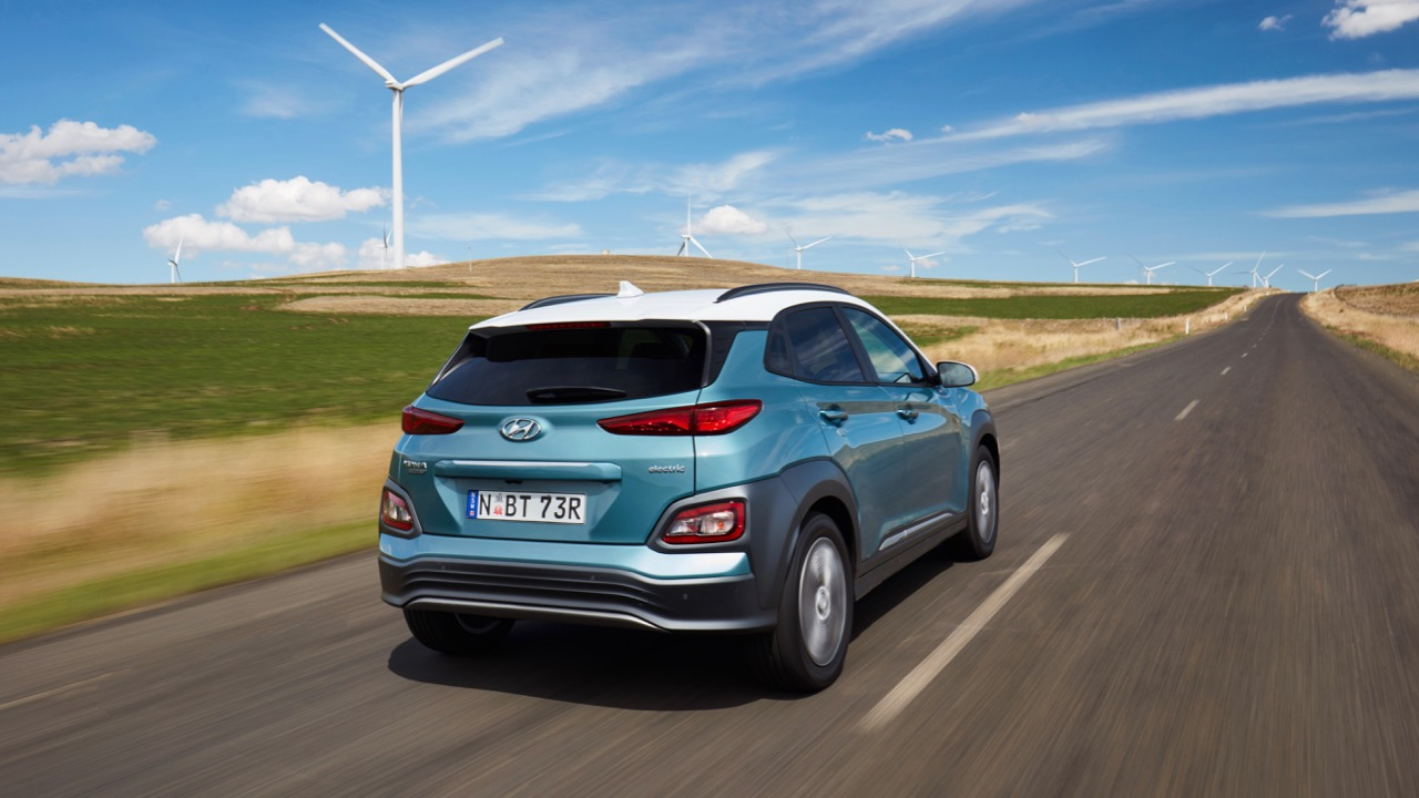 2019 Hyundai Kona Electric blue rear