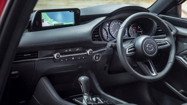 2019 Mazda 3 hatch black leather interior