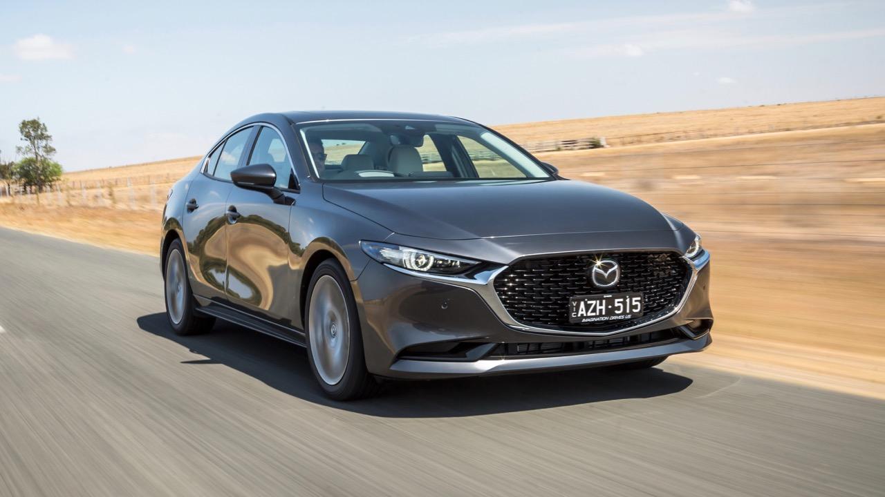 2019 Mazda 3 sedan machine grey front