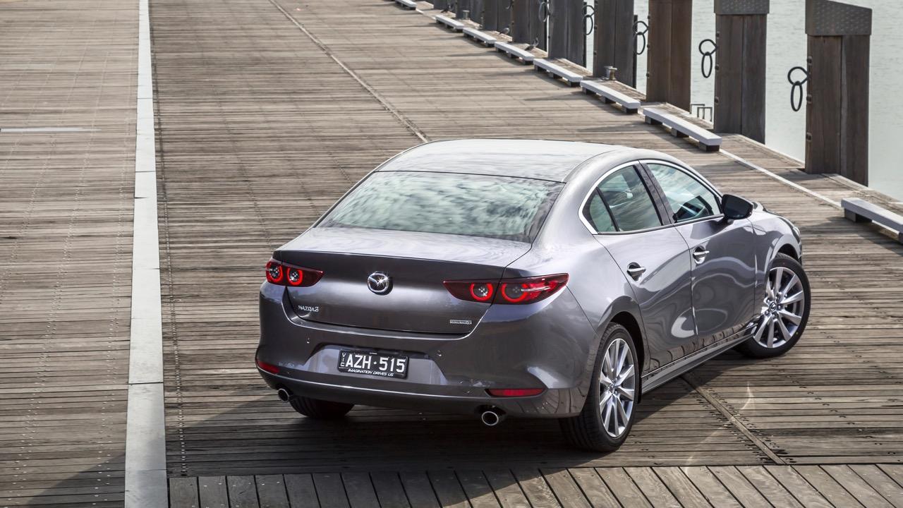 2019 Mazda 3 sedan machine grey rear
