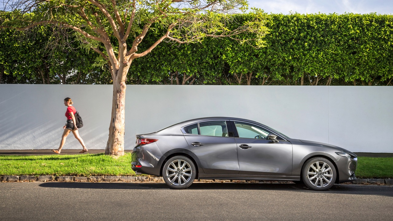 2019 Mazda 3 sedan machine grey side