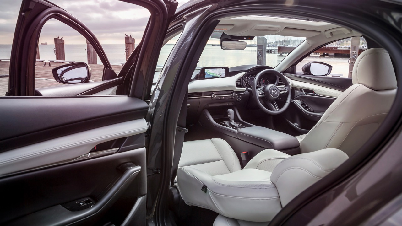 2019 Mazda 3 sedan pure white interior