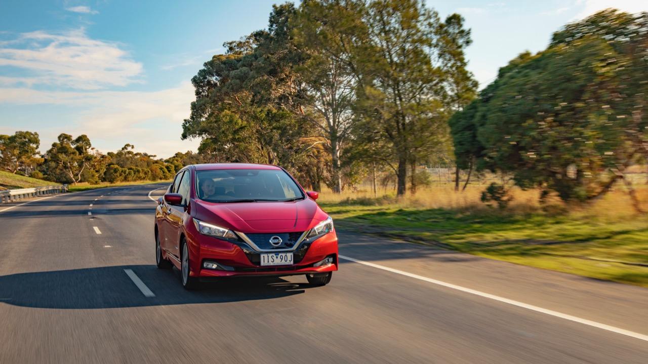 2019 Nissan Leaf red driving
