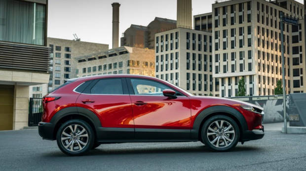 Mazda CX-30 side profile in Soul Red Crystal