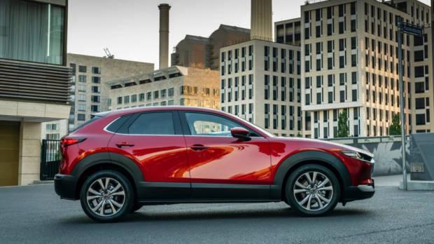 Mazda CX-30 side profile in Soul Red Crystal