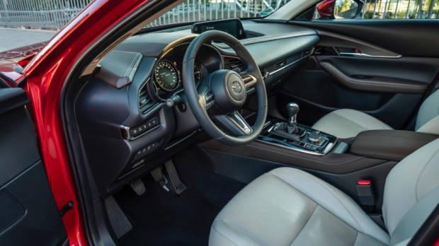 Mazda CX-30 white leather interior front
