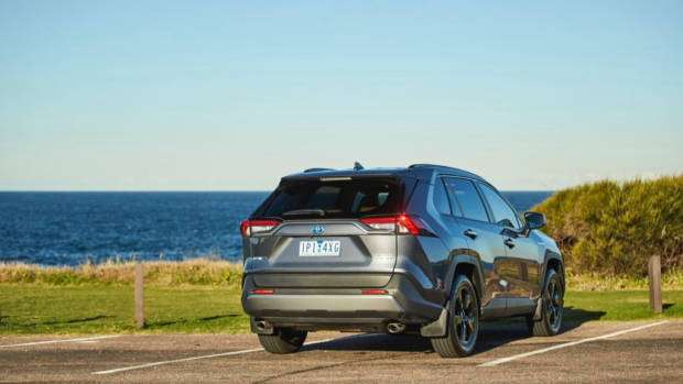 Grey Toyota RAV4 Cruiser Hybrid rear end