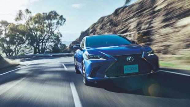 2020 Lexus ES F Sport blue driving