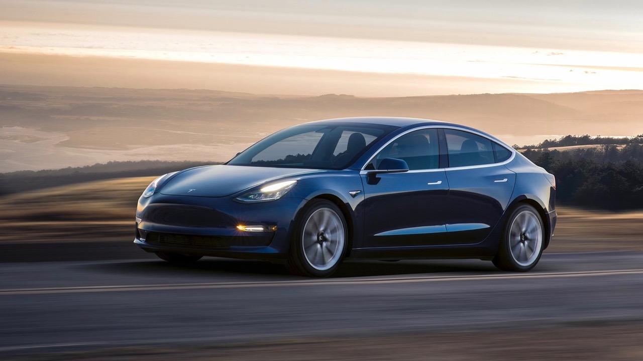 Tesla Model 3 blue side profile