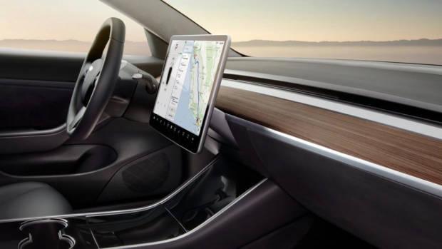 Tesla Model 3 dashboard wood