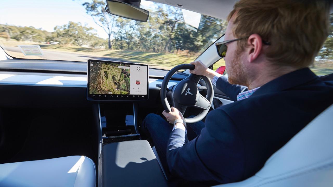 Tesla Model 3 driving Australia