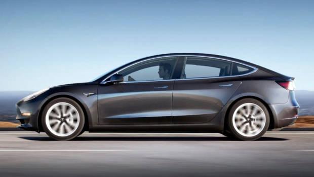 Tesla Model 3 grey side profile