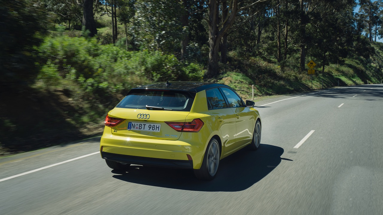 2020 Audi A1 review yellow rear