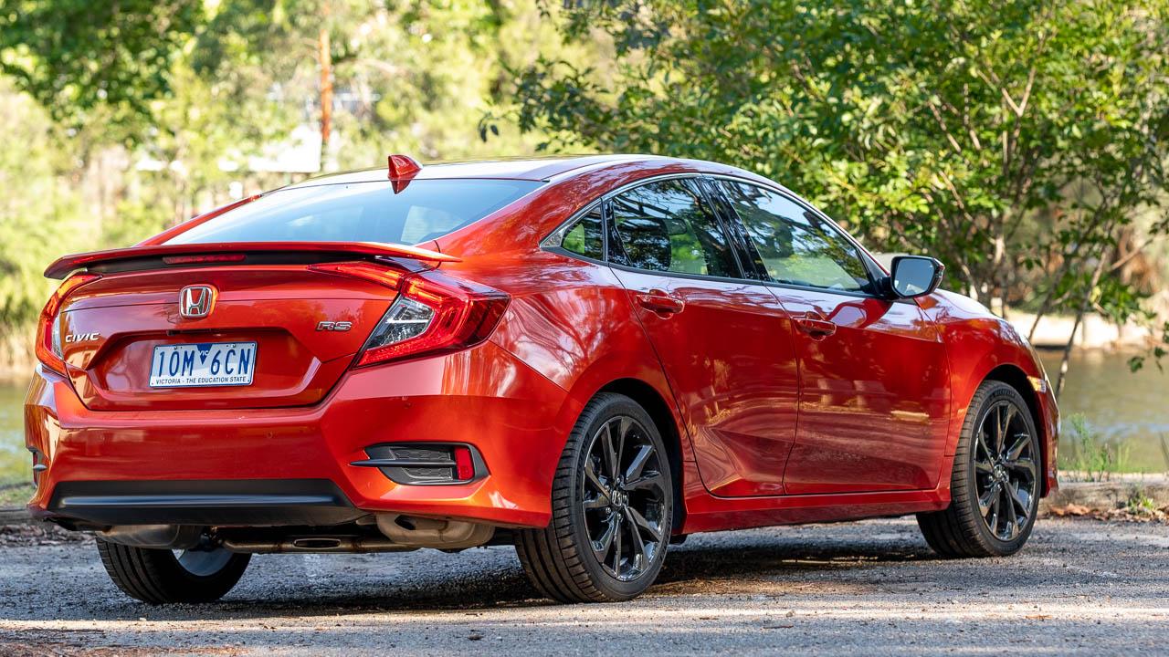2020 Honda Civic sedan orange rear end