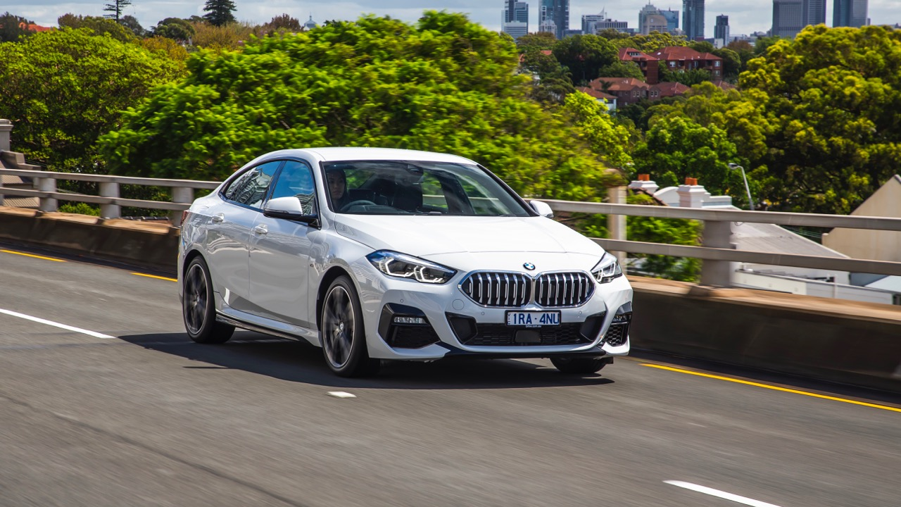 BMW 218i Gran Coupe 2020 white driving