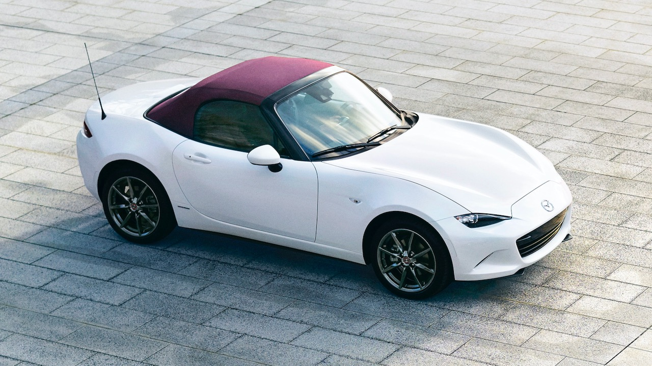 Mazda MX-5 100th Anniversary white burgundy