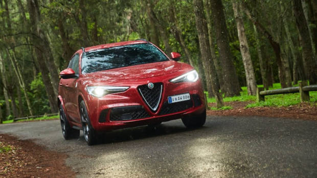 Alfa Romeo Stelvio Quadrifoglio review 2020 red driving