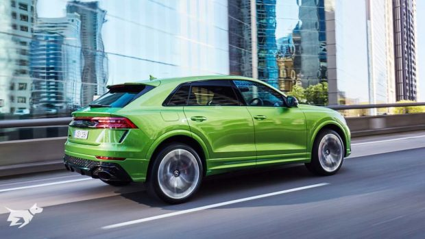The 2021 Audi RSQ8 SUV finished in Java Green